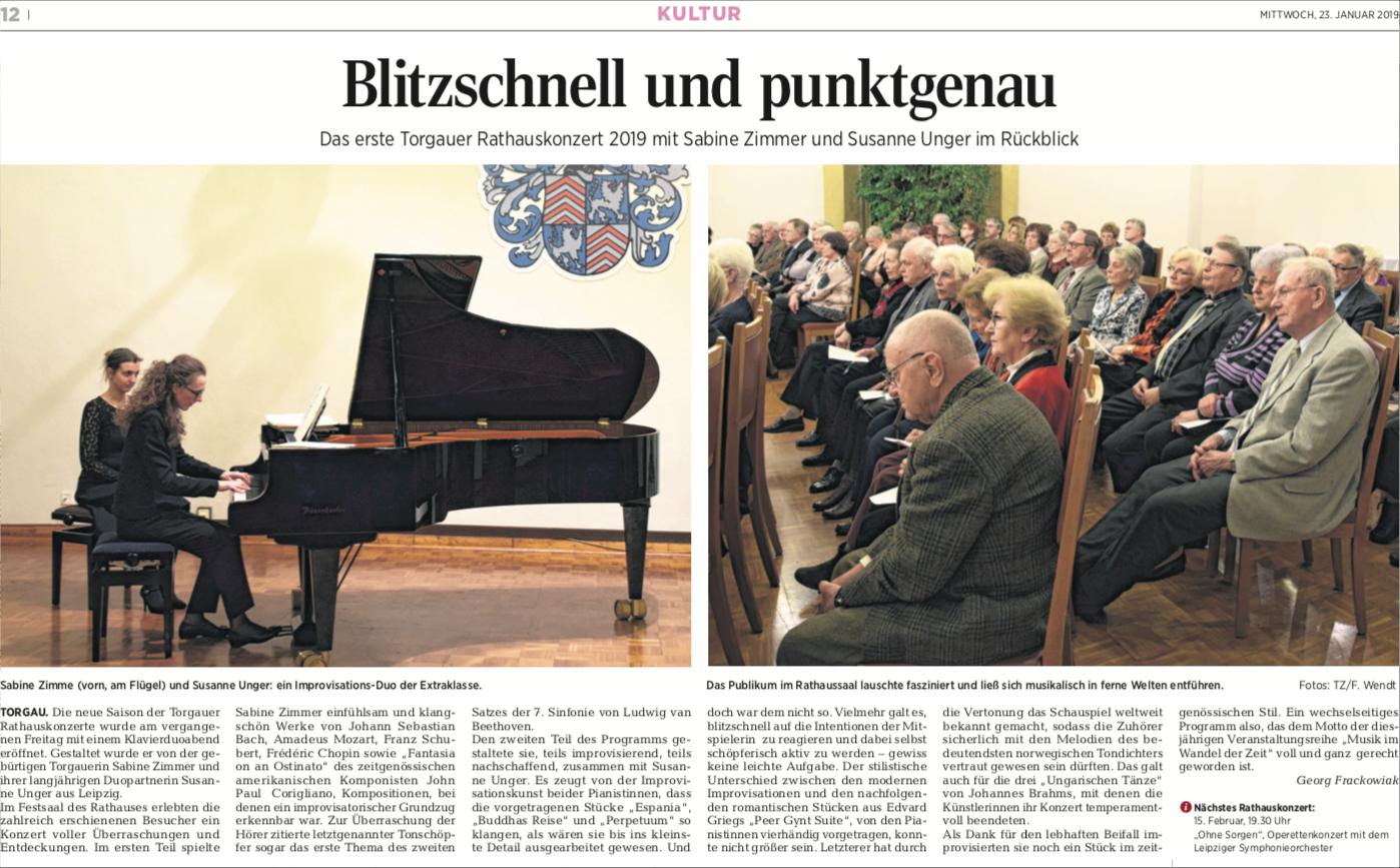 PianoManie Konzert Torgau Rezension Susanne Unger Sabine Zimmer